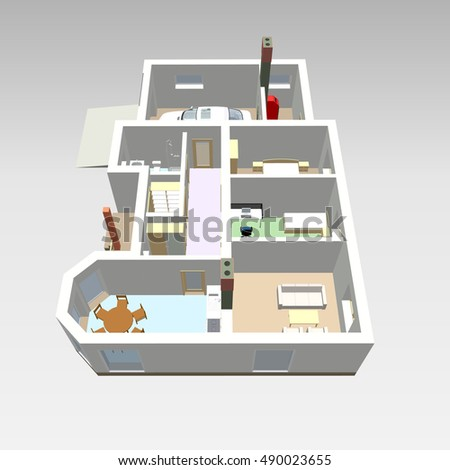 3 d floor plan vector blueprint apartment stock vector royalty free 3d floor plan vector blueprint apartment interior colorful architectural 3d design malvernweather Gallery