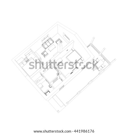 3D floor plan. Vector sketch. Apartment interior. Architectural 3D design. - stock vector