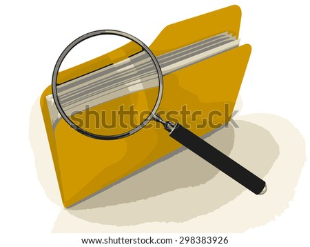 3D Folder with Magnifying Glass - stock vector