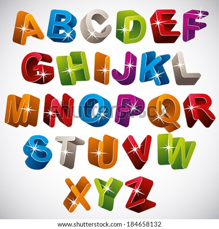 3D font, funny colorful alphabet, vector. - stock vector
