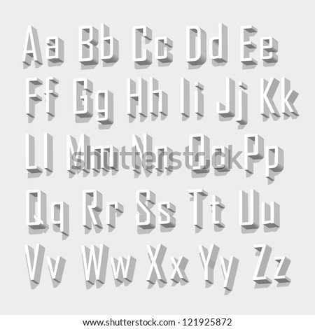 3D font set, Font with shadow. Alphabet on white background Vector illustration - stock vector