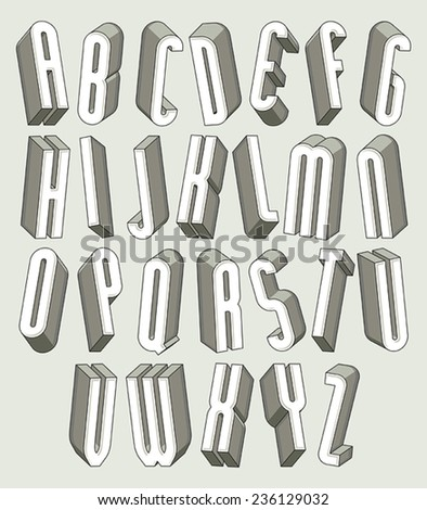3d font, thin and tall dimensional letters set made with round elements, monochrome alphabet for design. - stock vector