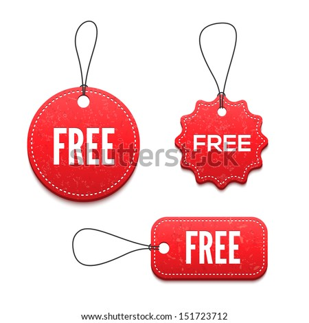 3D free badges set for your design - stock vector