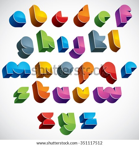 3d futuristic font, vector colorful letters, geometric dimensional alphabet, best for use in advertising and web design. - stock vector