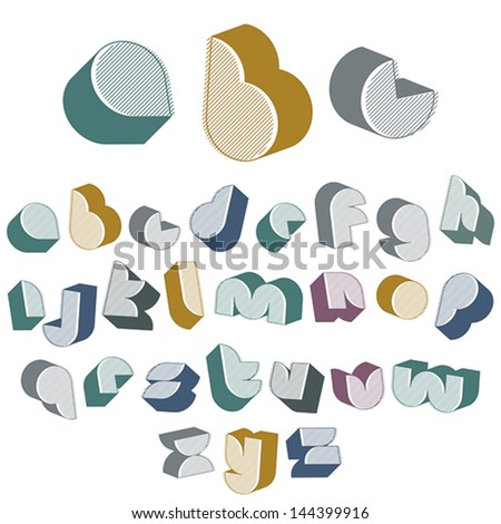 3d futuristic font with good style, lined version, simple shaped letters alphabet made with round shapes, great font for design, advertising, web and headlines. - stock vector