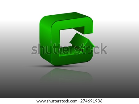 3D G Green letter as an arrow on a gray background - stock vector