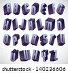 3d geometric bold font, monochrome dimensional alphabet, heavy letters for design. - stock photo