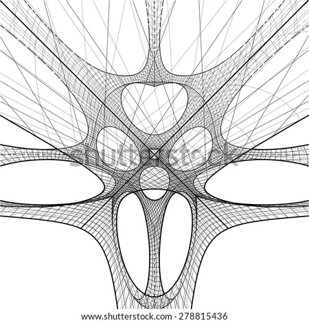 3D Geometric Organic Wireframe Shape Vector 52 - stock vector