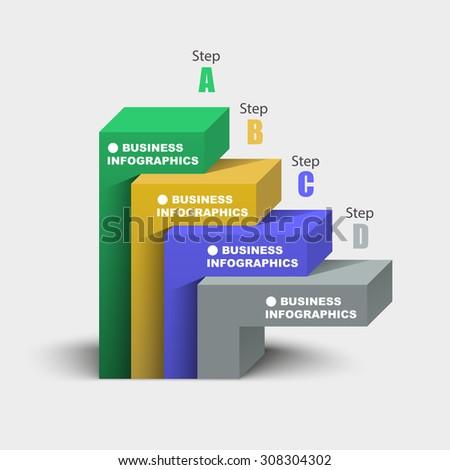 3d geometric shape chart infographics template - stock vector