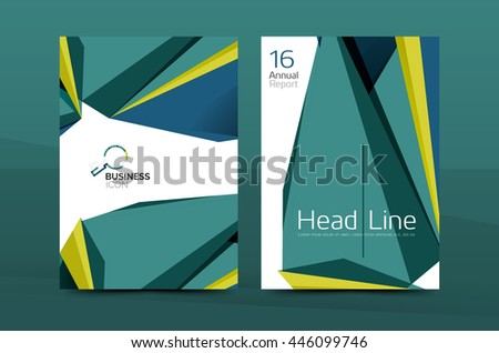 3d geometric shapes design a4 cover. Vector business corporate brochure identity template - stock vector