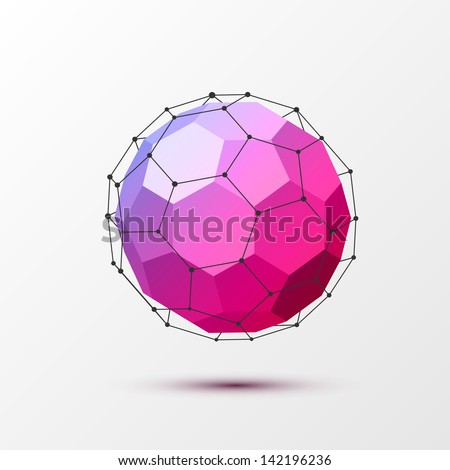 3D Geometrical background with black lines. - stock vector