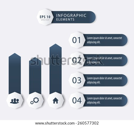 3d geometrical infographic elements for business design, reports in dark grey-blue, vector illustration, eps10, easy to edit - stock vector