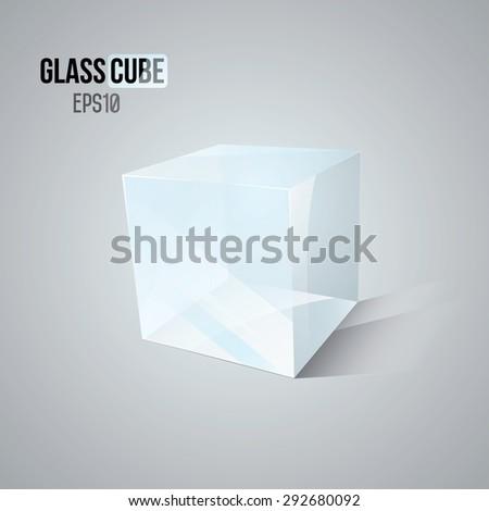 3D Glass Cube. EPS10 Vector illustration - stock vector