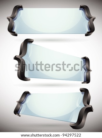 3d glass made banners with spelling brackets, vector set. - stock vector