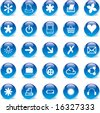 3d Glass Round Blue Icons - stock vector