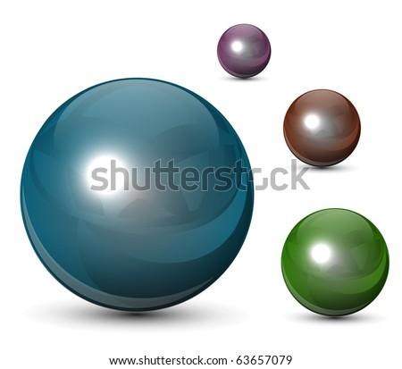 3D glass spheres,  balls set, vector. - stock vector