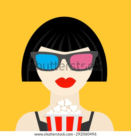 3D glasses and big popcorn. Brunet girl at the Cinema theater Black dress Flat dsign style icon. Vector illustration - stock vector