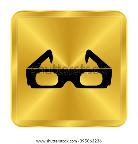 3d glasses - black vector icon;  gold button - stock vector
