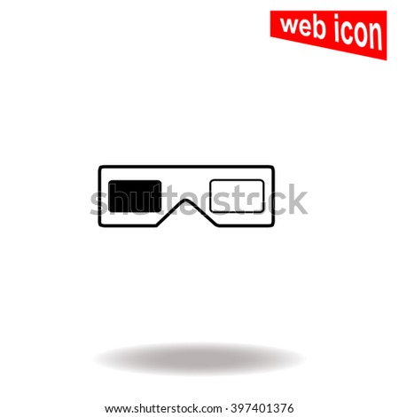 3d glasses icon. - stock vector