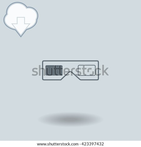 3d glasses icon with shadow. Cloud of download with arrow. - stock vector