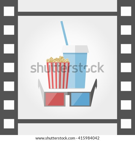 3d glasses popcorn and beverage - stock vector