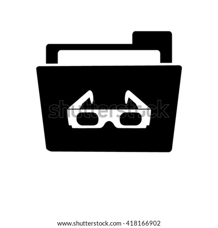 3d glasses - white vector icon;  black folder - stock vector