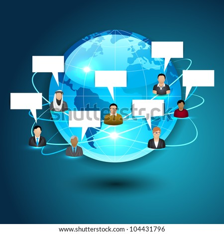 3D Globe with signals, social networking peoples and speech bubble, Social media network connection and communication with networking signals, icons and map pointers on glossy blue background.EPS 10. - stock vector
