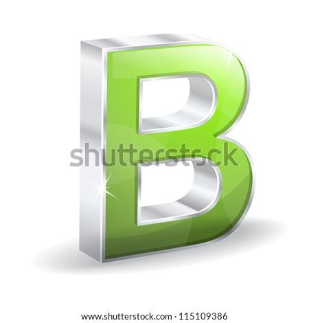 3d Glossy B Alphabet Vector Character - stock vector