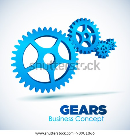 3D glossy Gears, vector illustration. Business, Teamwork concept. - stock vector
