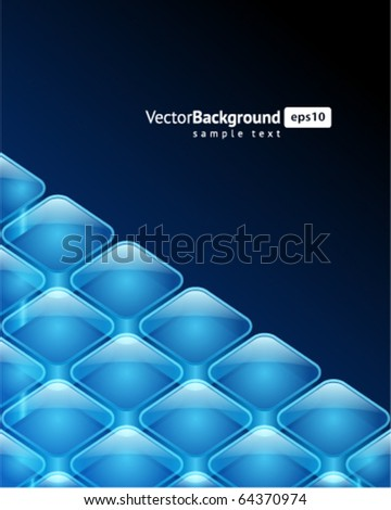 3d glossy glass squares vector background - stock vector