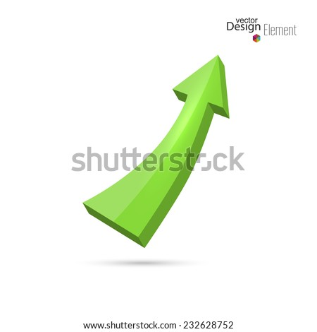 3D glossy green arrow directed up. growth and profits. icon - stock vector