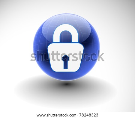 3d glossy lock icon, blue isolated on white background. - stock vector