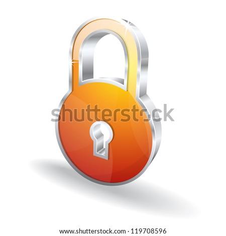 3d Glossy Lock Vector Icon Illustration - stock vector