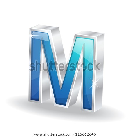 3d Glossy M letter Vector - stock vector