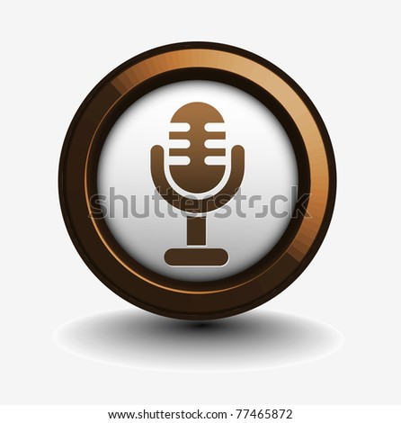 3d glossy mic icon, blue isolated on black background. - stock vector