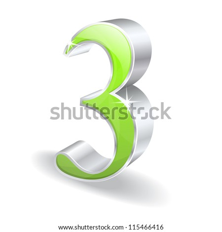 3d Glossy Number Three 3 Vector Icon - stock vector