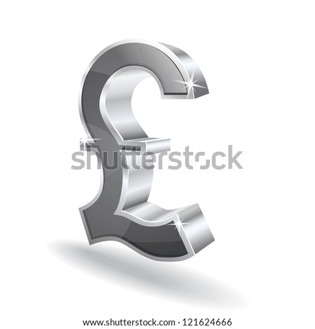 3d Glossy Pound Vector sign Icon