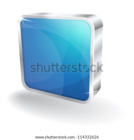 3d Glossy Stop Rounded Rectangular Button Vector Icon - stock vector