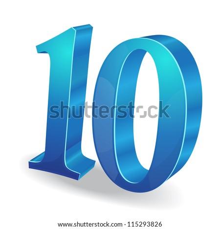 3d Glossy 10 Ten Number Vector - stock vector