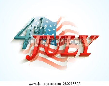 3D glossy text 4th of July on national flag waves background for American Independence Day celebration. - stock vector