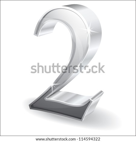 3d Glossy Two 2 Vector - stock vector