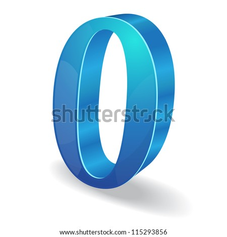 3d Glossy 0 Zero Number  Vector - stock vector