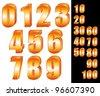 3D Gold numbers vector set. Zero to ten. Ten to hundred. - stock photo