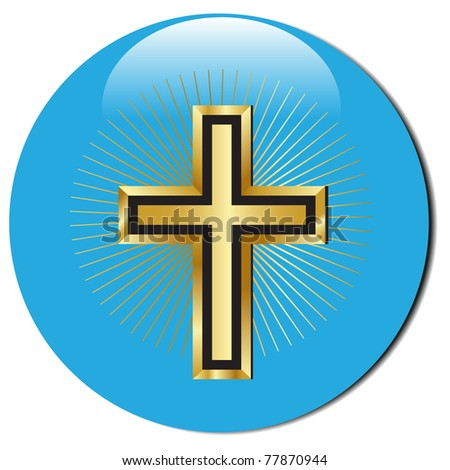 3d golden cross icon.Vector - stock vector