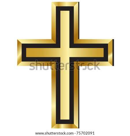 Christianity Symbol Golden Cross Icon Christian Stock Illustration ...