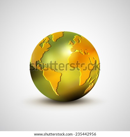3d golden world model isolated on white background, vector illustration