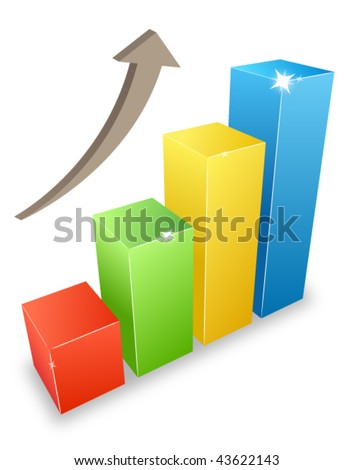 3d graph bars grow - stock vector
