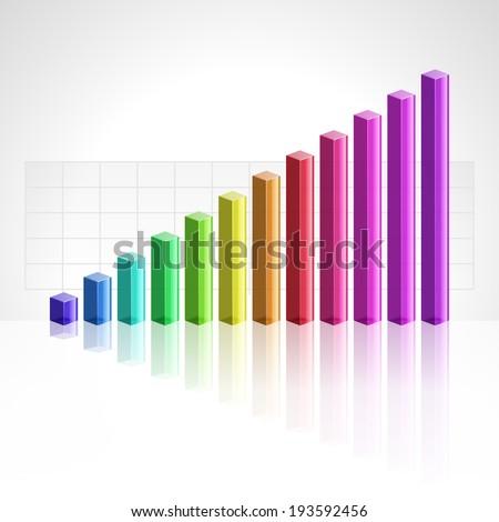 3d graph growth progress vector illustration  - stock vector
