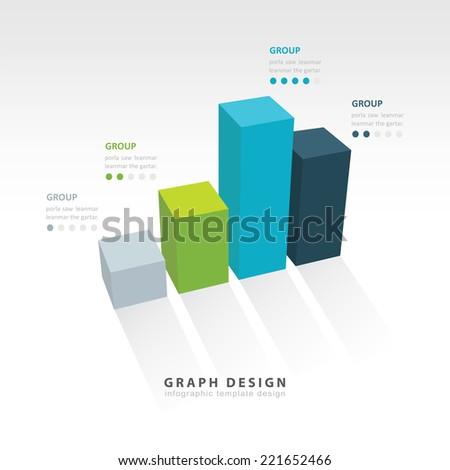 3D graph illustration Infographic 4 color - stock vector