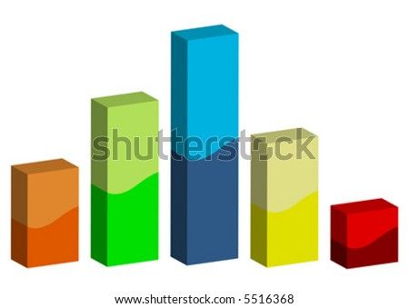 3D graphic bars with different colors and sizes isolated over white background